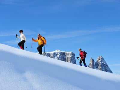 Snow shoe hiking on Alpe di Siusi
