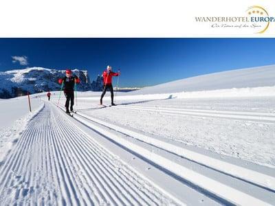 Cross country skiing on Alpe di Siusi