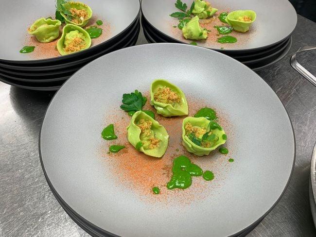 Wild garlic tortelli filled with smoked salmon