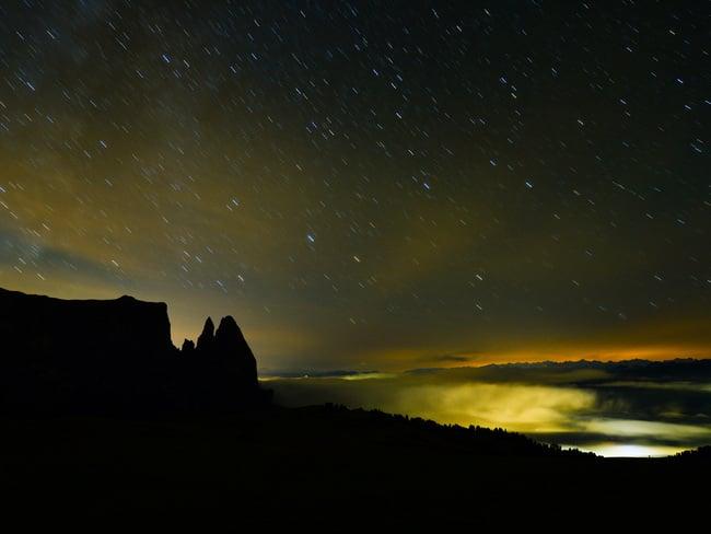 Un mare di luci nelle Dolomiti