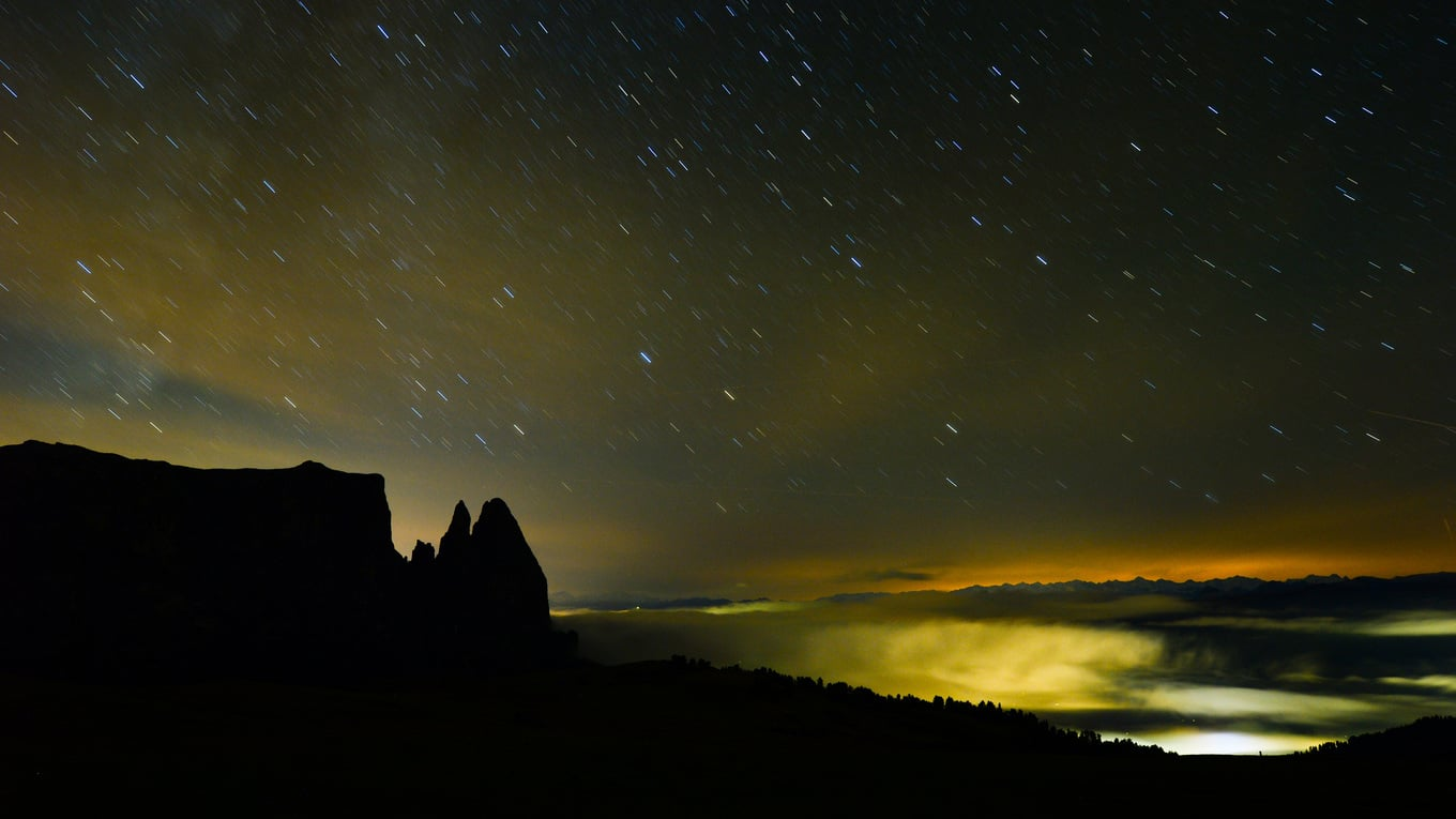 A sea of lights of the Dolomites