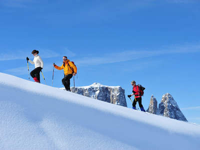 Snow shoe hiking on Alpe di Siusi - Dolomites