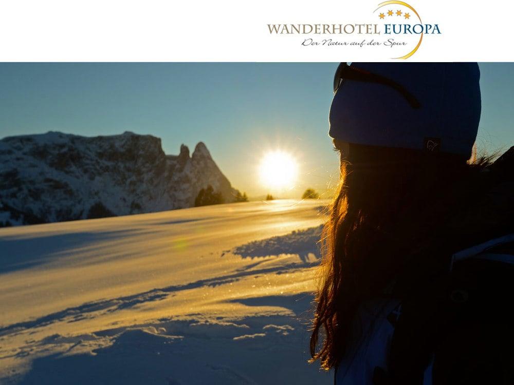 Winter hiking on Alpe di Siusi