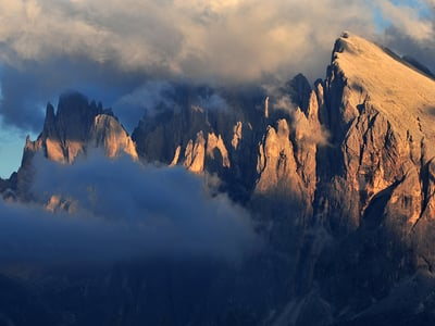 Alpine tour on Sasso Piatto in the Dolomites of Alpe di Siusi