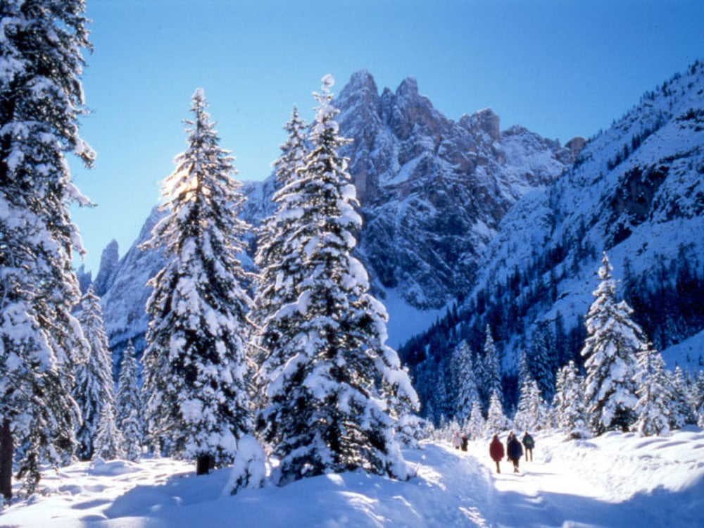 Cross country skiing Dolomites UNESCO World Heritage